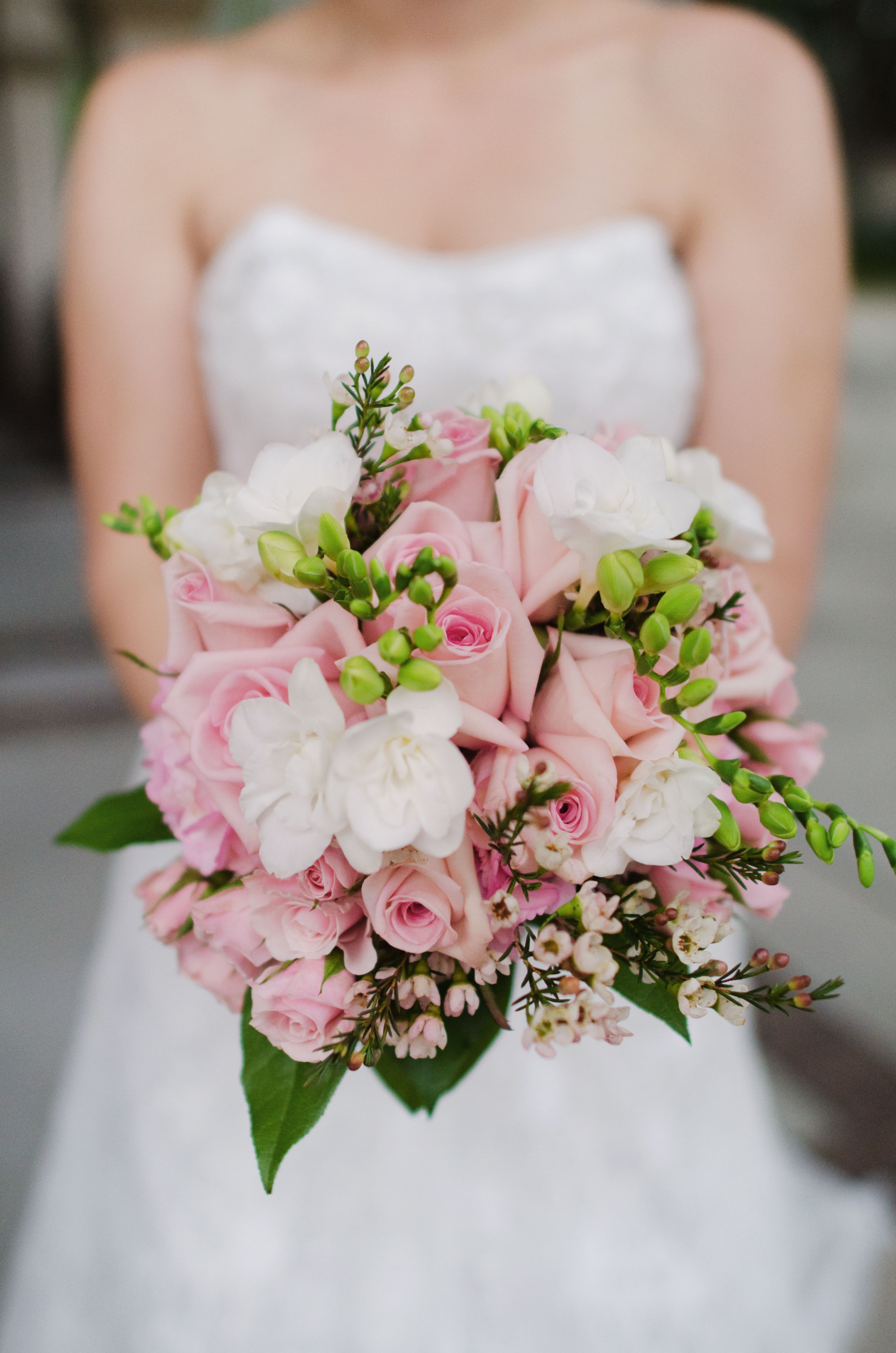 e1b38e4fcd Gorgeous bouquet of pink roses, white freesia, pink wax flower. Heavenly  scented!