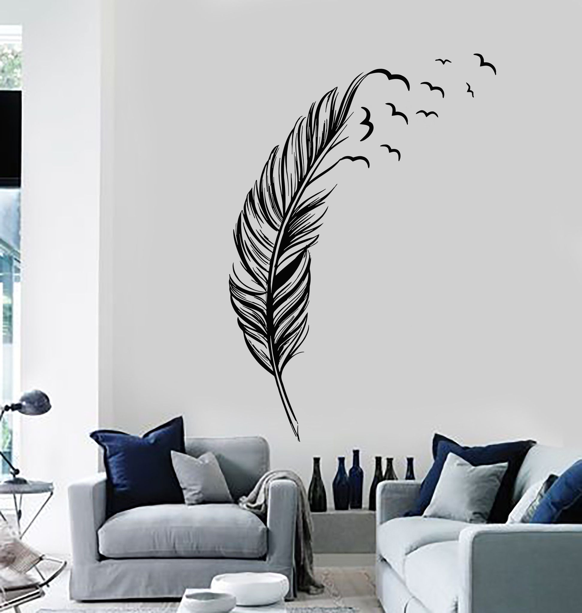 Best Vinyl Wall Decal Feather Birds Bedroom Home Decoration 640 x 480