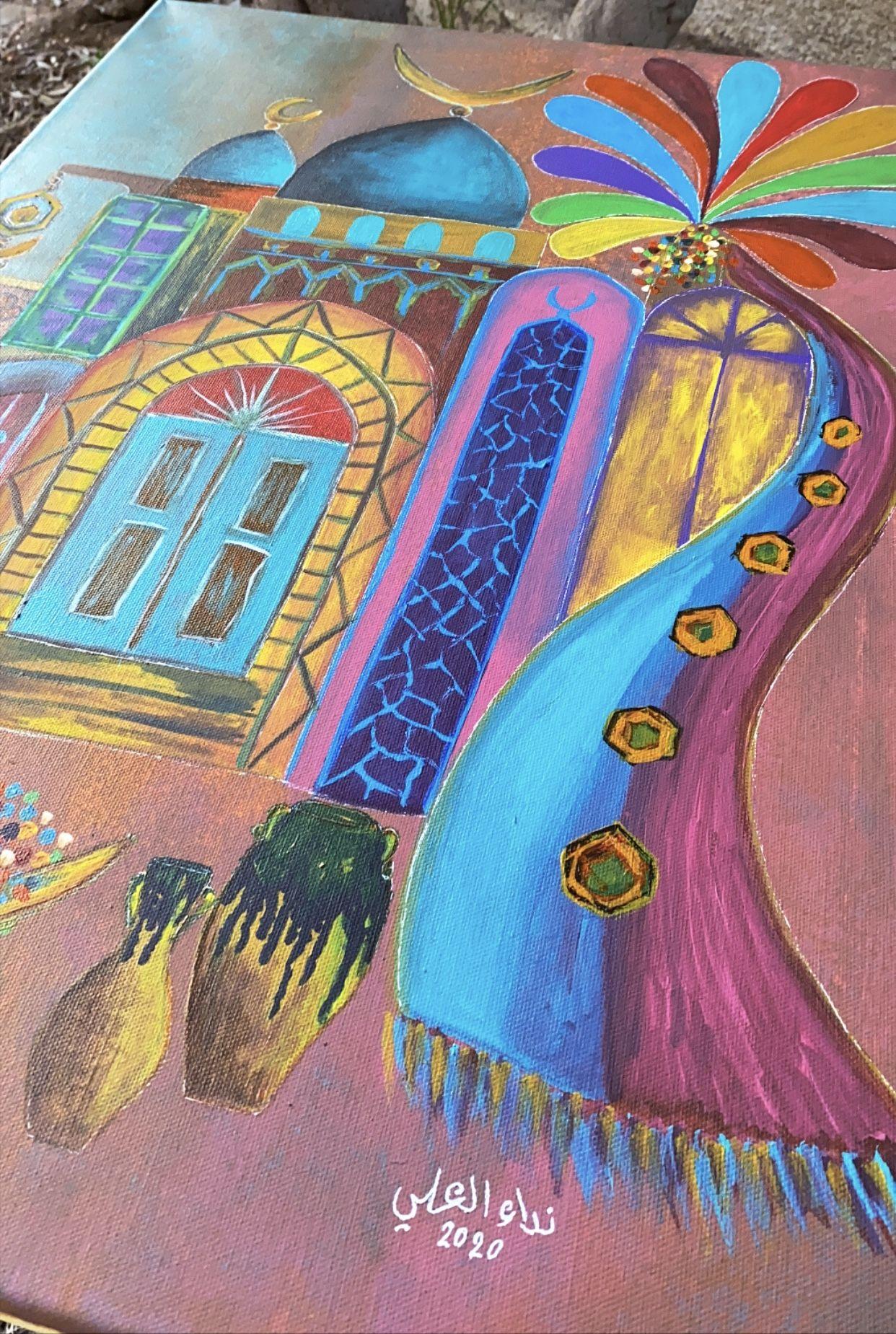 رسم اكرلك لوحة تراثيات شناشيل بغداديه فن شعبي African Art Art Painting African Art Paintings