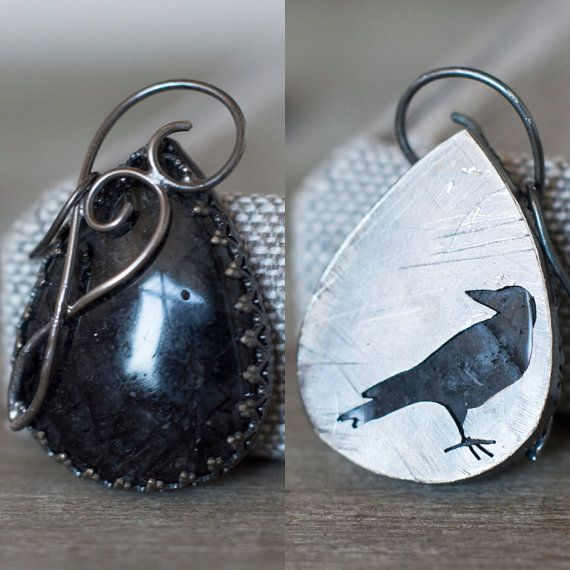 Crow Pendant - Black Rutile Dendrite Quartz  ~ 925 Sterling Silver - Grunge Dark Steampunk