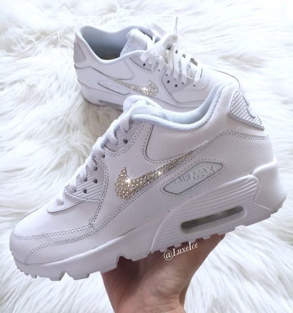 Swarovski Nike Air Max 90 White Casual Shoes customized with ... d63f41fa66