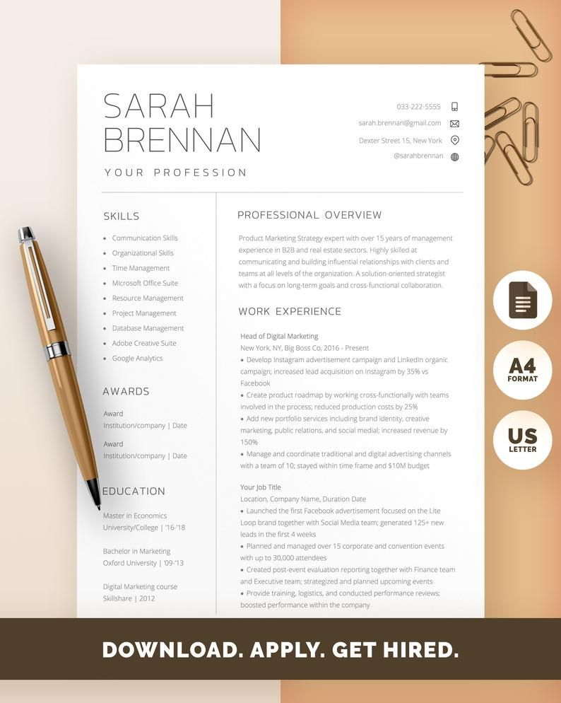 Google Docs Resume Template, Professional Resume, Modern