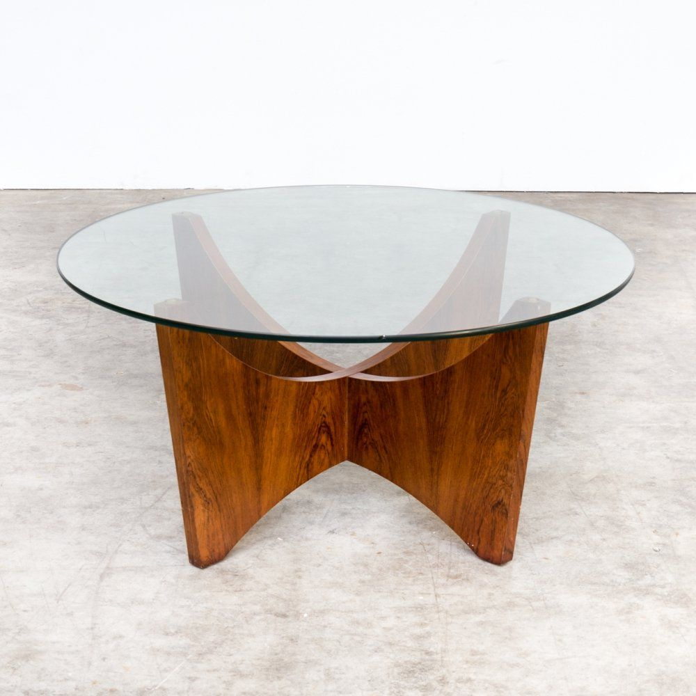 For Sale 70s Round Wood Framed Coffee Table With Glass Table Top Coffee Table Glass Top Table Glass Table [ 1000 x 1000 Pixel ]
