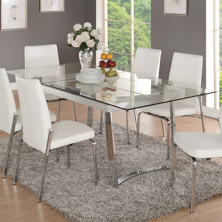 Acme Osias 63 Quot Extension Dining Table Chrome Glass In 2020