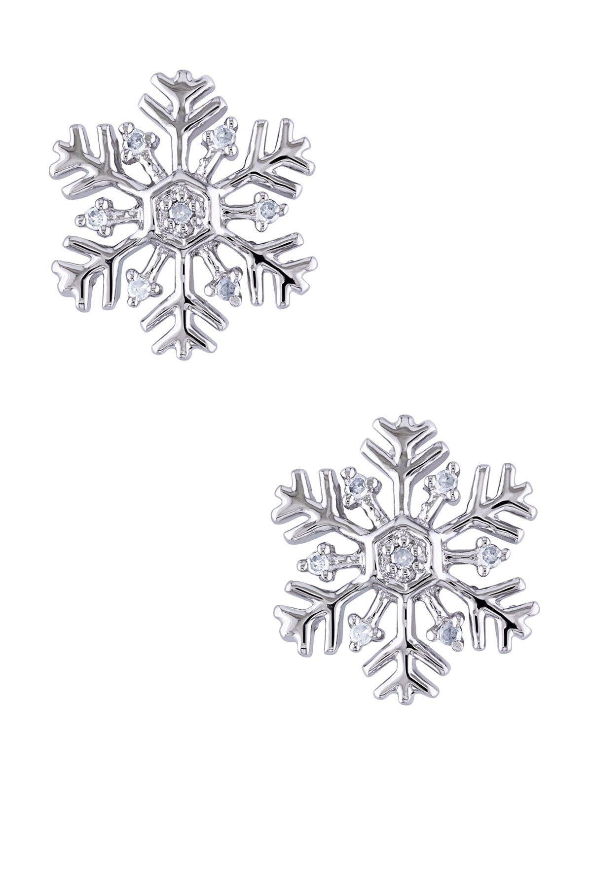 Sterling Silver Diamond Snowflake Ear Pin Earrings
