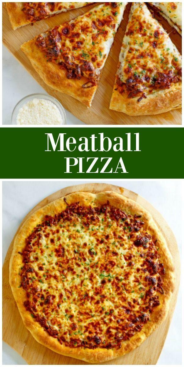 Easy Meatball Pizza recipe from    - Pasta/Pizza -