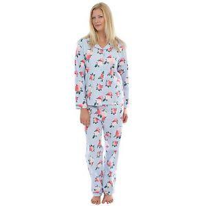 Mature Ladies Pyjamas Pj 100% Pure Soft Cotton. Flannel Vintage Rose ... b790a9e0c