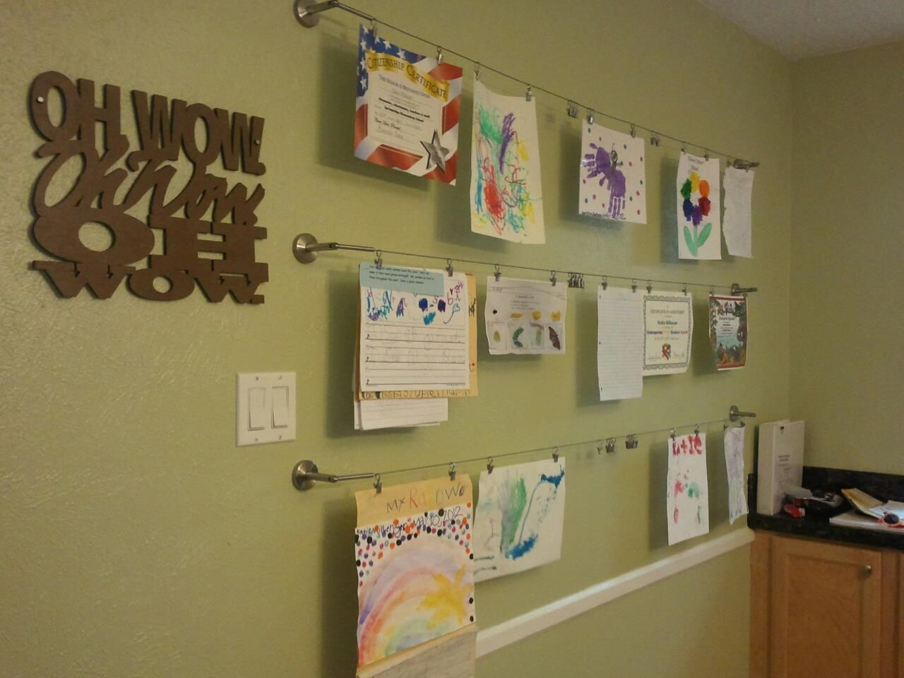 To Hang My Kids Artwork From Ikea Dignitet Curtain Wire And Riktig Curtain Clips Steve Jobs Quot Displaying Kids Artwork Hanging Kids Artwork Kids Artwork