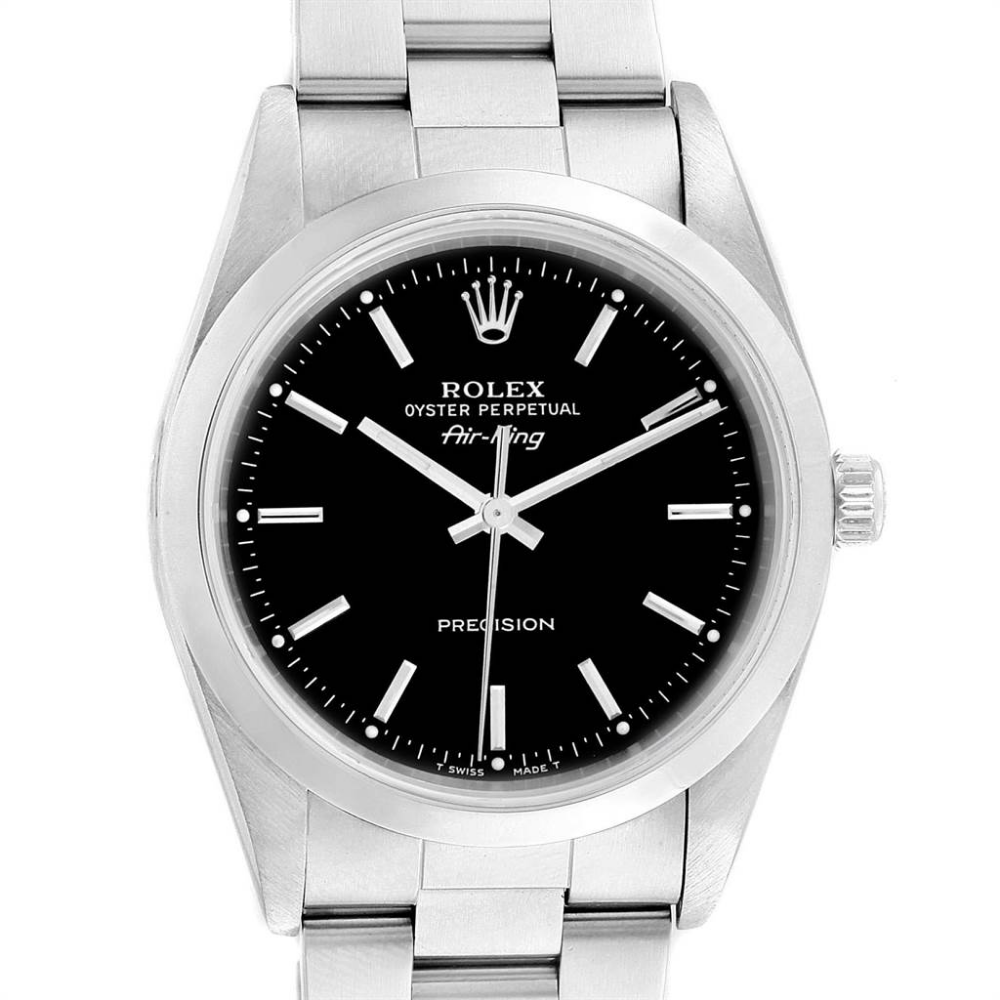 Rolex Air King 34 Black Dial Automatic Steel Mens Watch