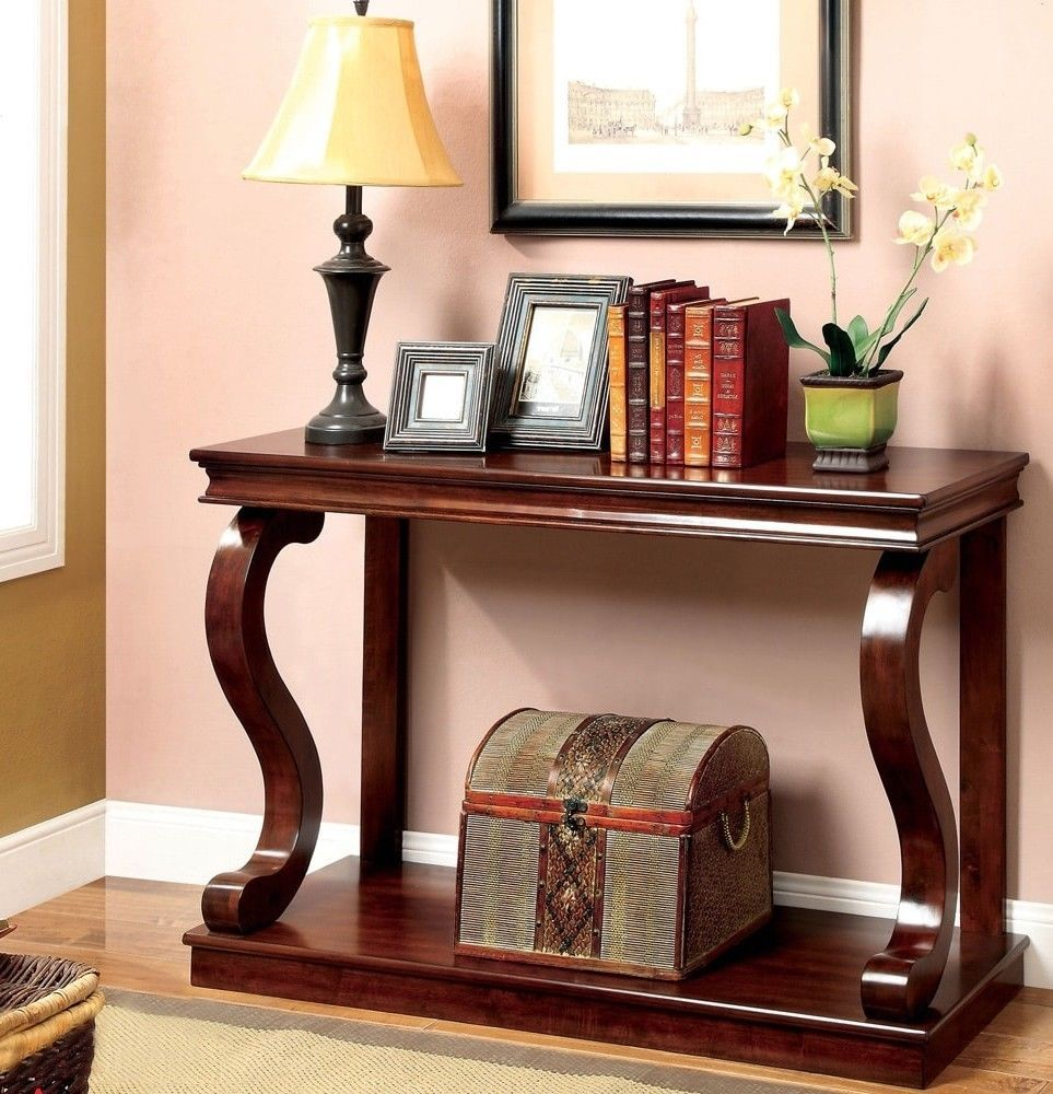 Transitional Cherry Console Entryway Table Wood Tabletop Rectangle Storage & Transitional Cherry Console Entryway Table Wood Tabletop Rectangle ...