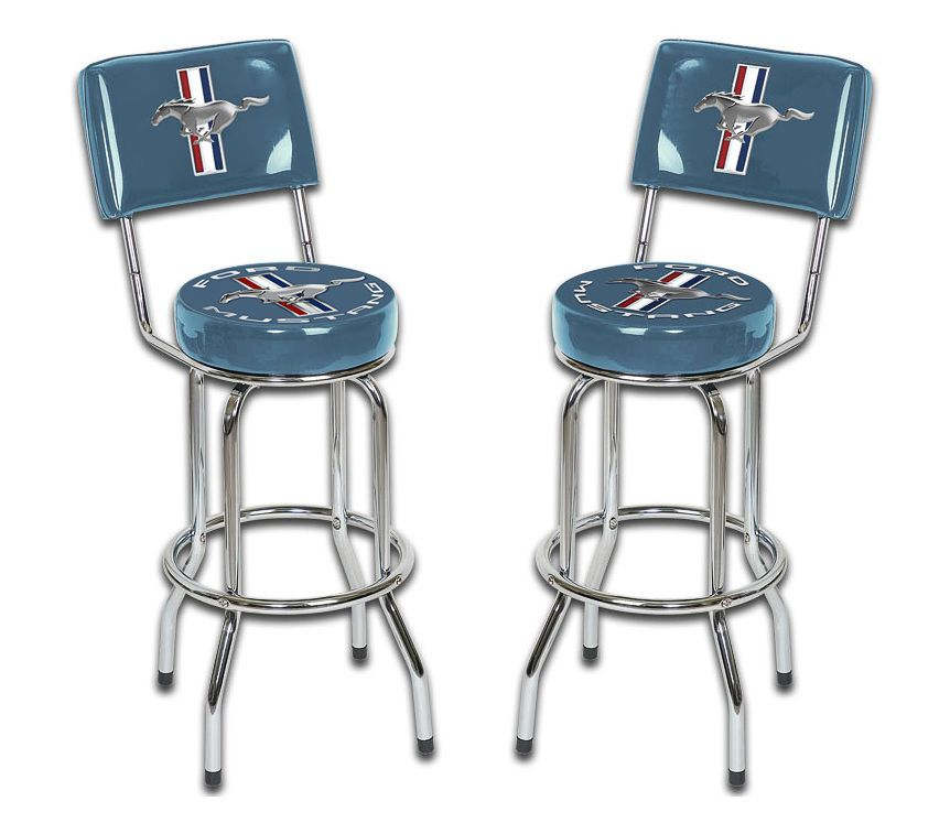 Ford Mustang Chrome Amp Blue Tribar Running Horse Bar Stools