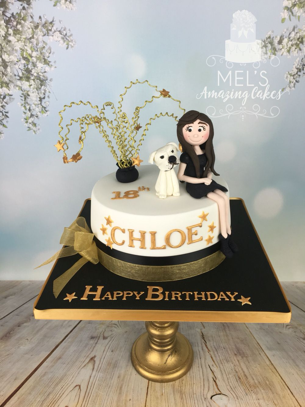 Black And Gold 18th Birthday Cake With Sugar Figure Of The Girl Her Dog X