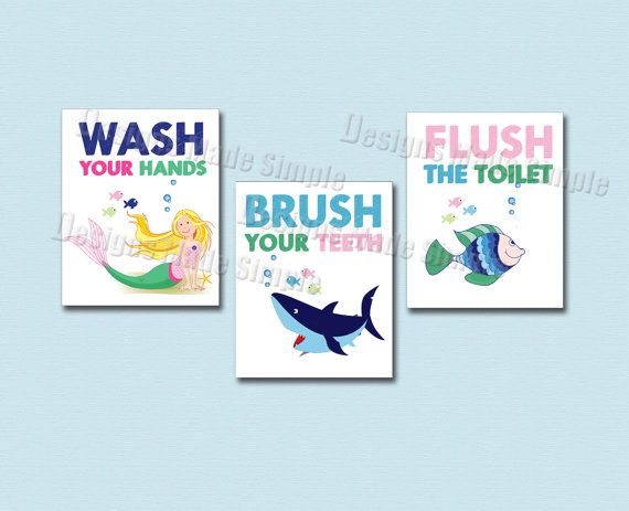 Shark Mermaid And Fish Bathroom Signs Set Of Three Printable Wash Your Hands Brush Your Teeth Flush The Toilet Instant Download In 2020 Fish Bathroom Bathroom Signs Shark Mermaid