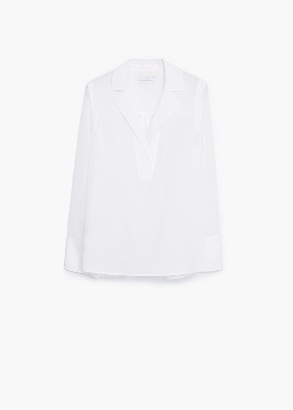 Premium - blusa seda solapas - Camisas de Mujer | MANGO