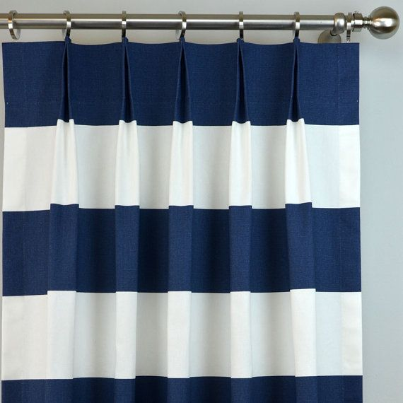 Pair Of Pinch Pleat Top Curtains In Navy Blue And White