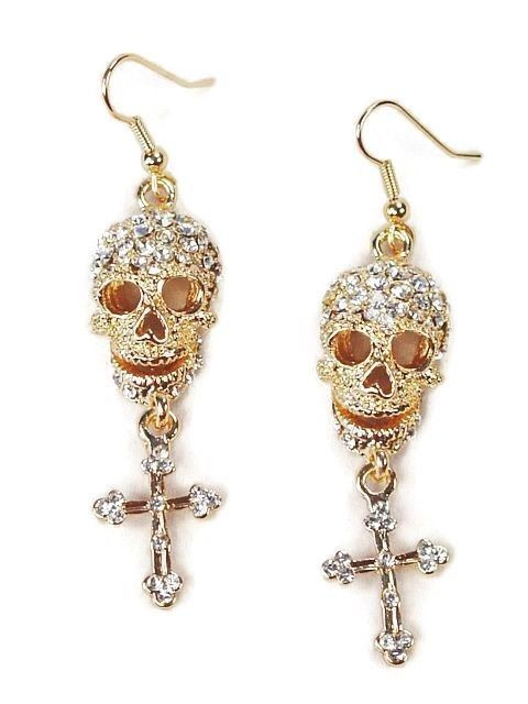 Skull and Cross Clear Crystal Gold Plated Pierced Dangle Earrings  #DropDangle