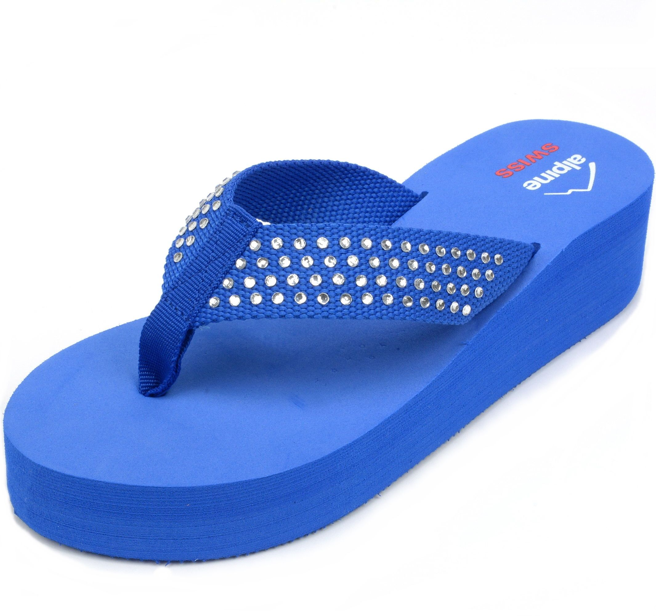 8a2381f2bc0 Alpine-Swiss-Womens-Flip-Flops-Thong-Sandals -Rhinestone-Wedge-High-Heel-Platform