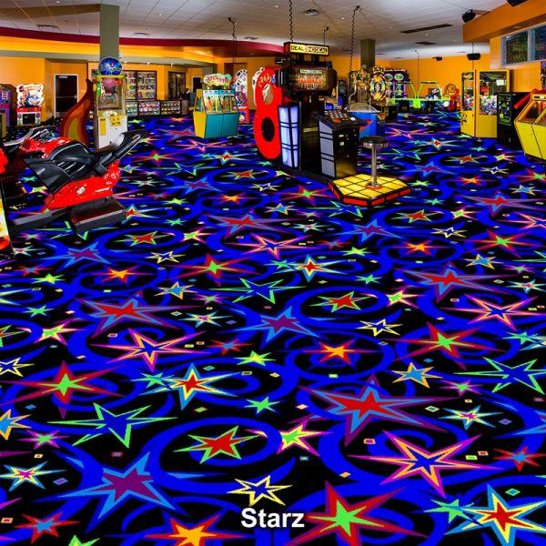 Family arcade (fun center) carpet. Black Light (BlackLight ...