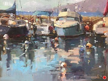 Italian Fishing Boat Gloucester, Otis Pierce Cook, oil