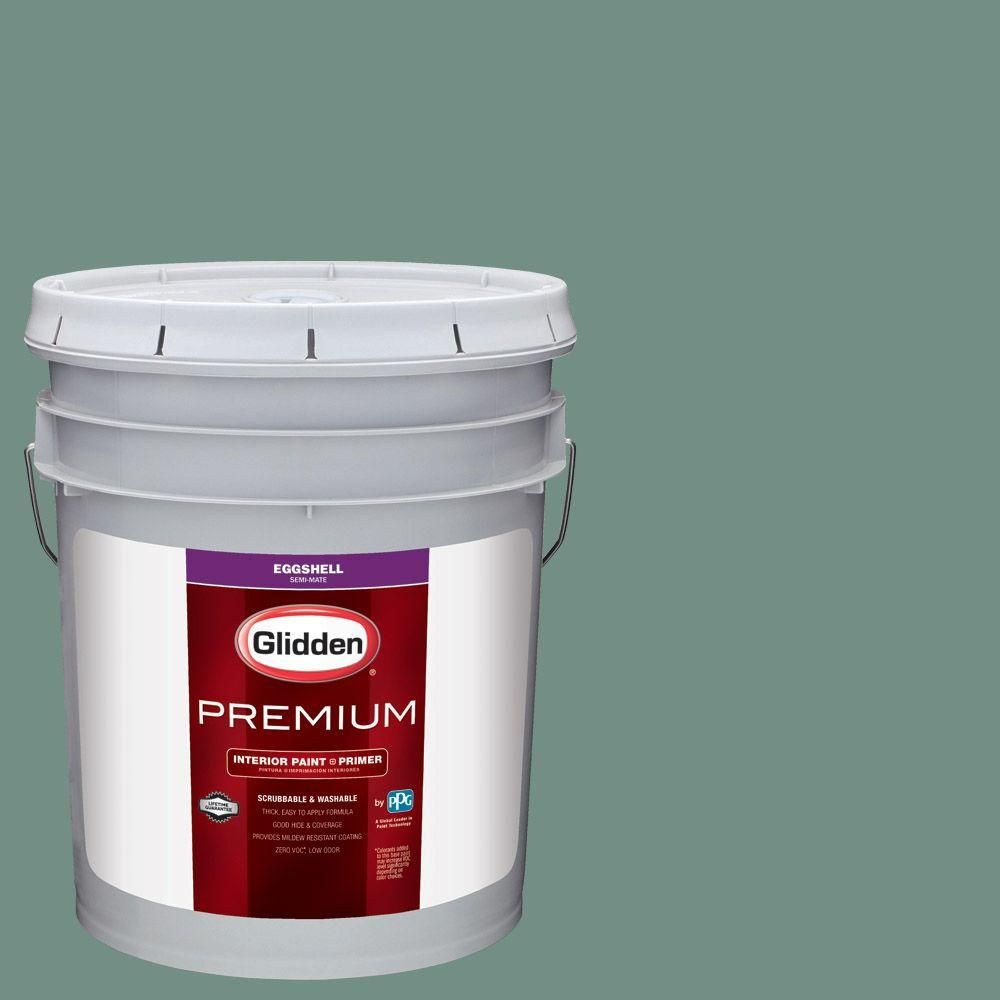 Glidden Premium 5 gal. #HDGB12 Northern Green Woods Eggshell Interior Paint with Primer