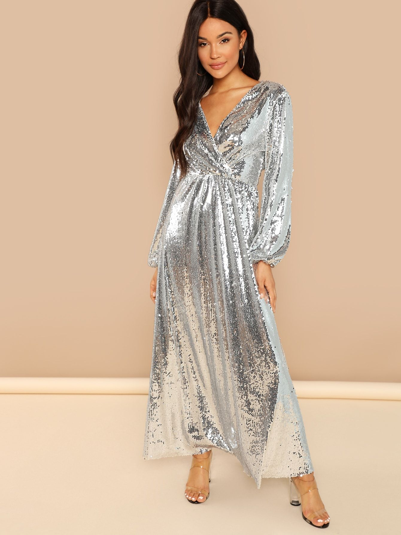 cc3d2ad758988 Blouson Sleeve Wrap Sequin Maxi Dress in 2019 | Shiny & Sparkly ...
