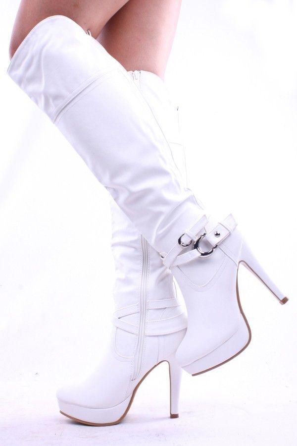 Womens block High Heels Platform Metal Tassel side zipper Knee High Boots