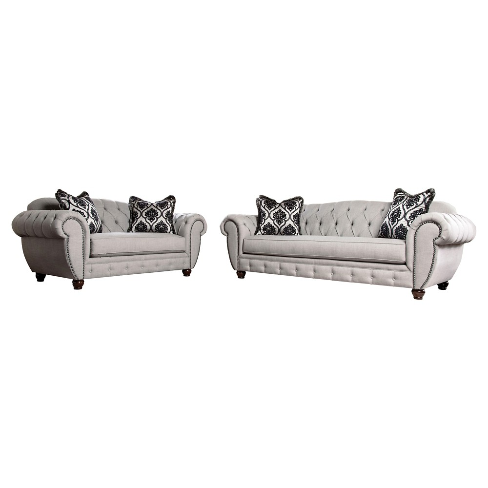 Livingston Victorian Style Sofa And Love Seat Set Gray - Furniture Of America, Proper Gray