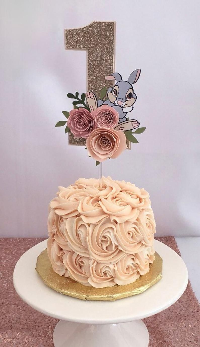 glitter cake topper one cake topper One year old cake topper bambi Floral cake topper Bambi cake topper Thumper decorations