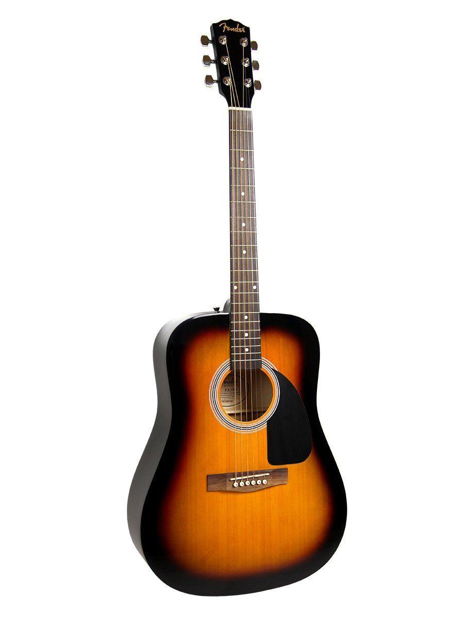 1bf5b34796 Fender FA-100 Dreadnought Acoustic Guitar Bundle with Gig Bag, Tuner,  Strap, Picks, Strings - Sunburst