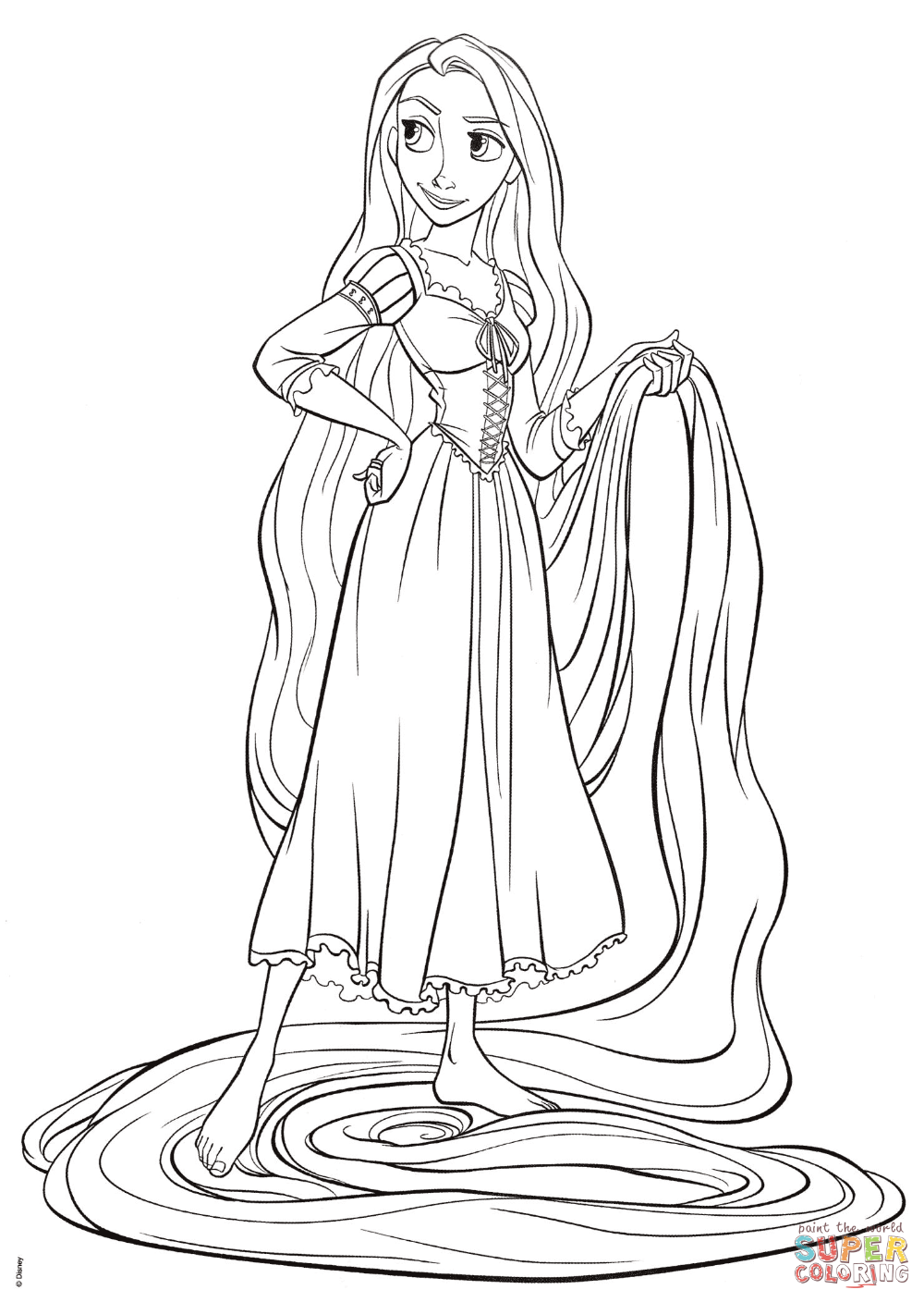 Rapunzel From Tangled Super Coloring Tangled Coloring Pages Rapunzel Coloring Pages Rapunzel Drawing
