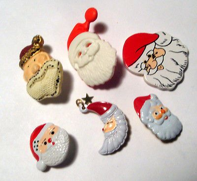 Lot-6-Realistic-CHRISTMAS-HOLIDAY-Buttons-VARIETY-SANTA-CLAUS-HEAD