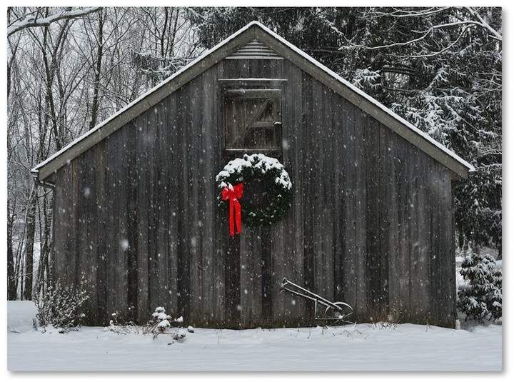 'Christmas Barn in the Snow' Framed Photo Graphic Print on Canvas | Joss & Main