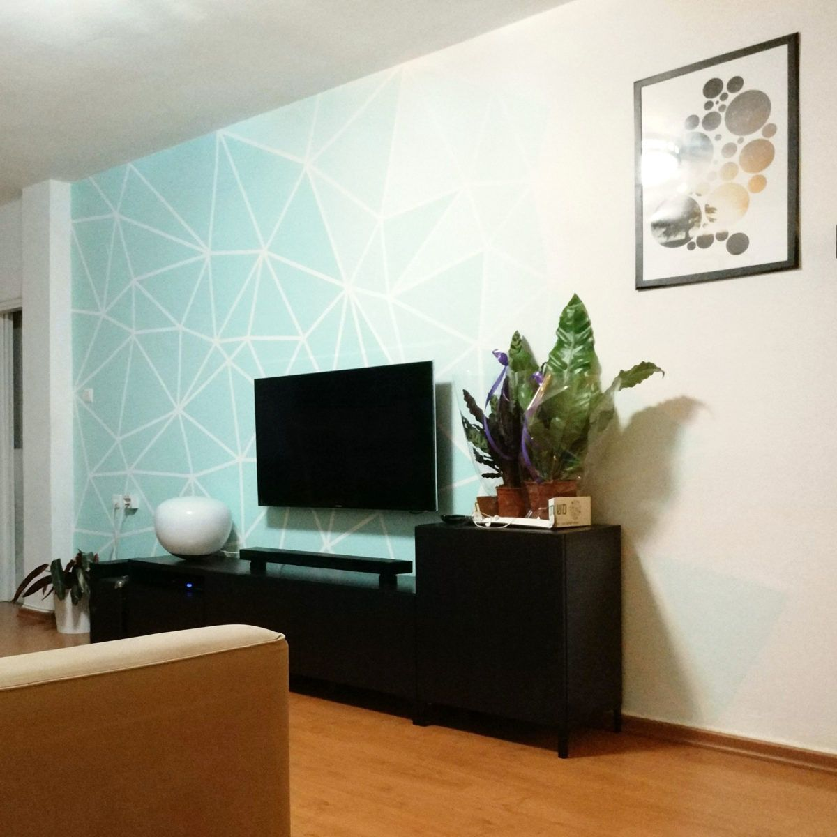 Accent Wall Living Room Faux Suede Paint: DIY Faux Wallpaper Home Decor Accent Wall