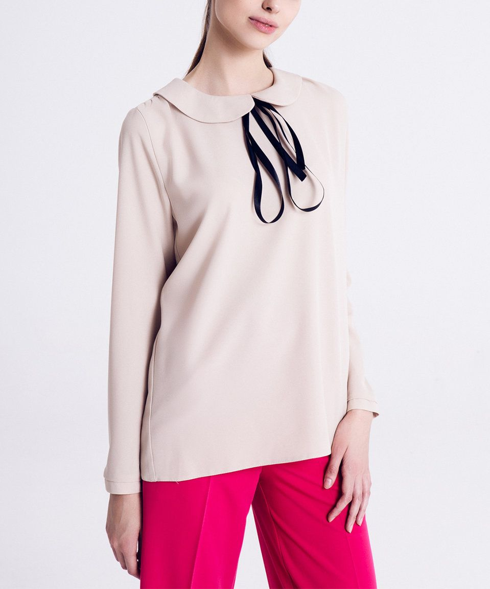 Take a look at this Beige Bow Long-Sleeve Top - Plus Too today!