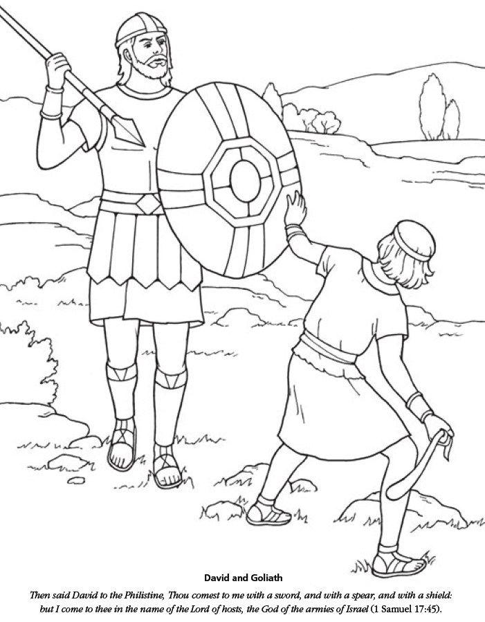 david-and-goliath-Coloring-   David and goliath, Bible ...