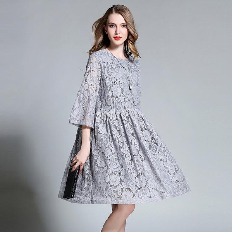 European Design 2017 Spring Autumn Women Floral Lace Dresses Plus