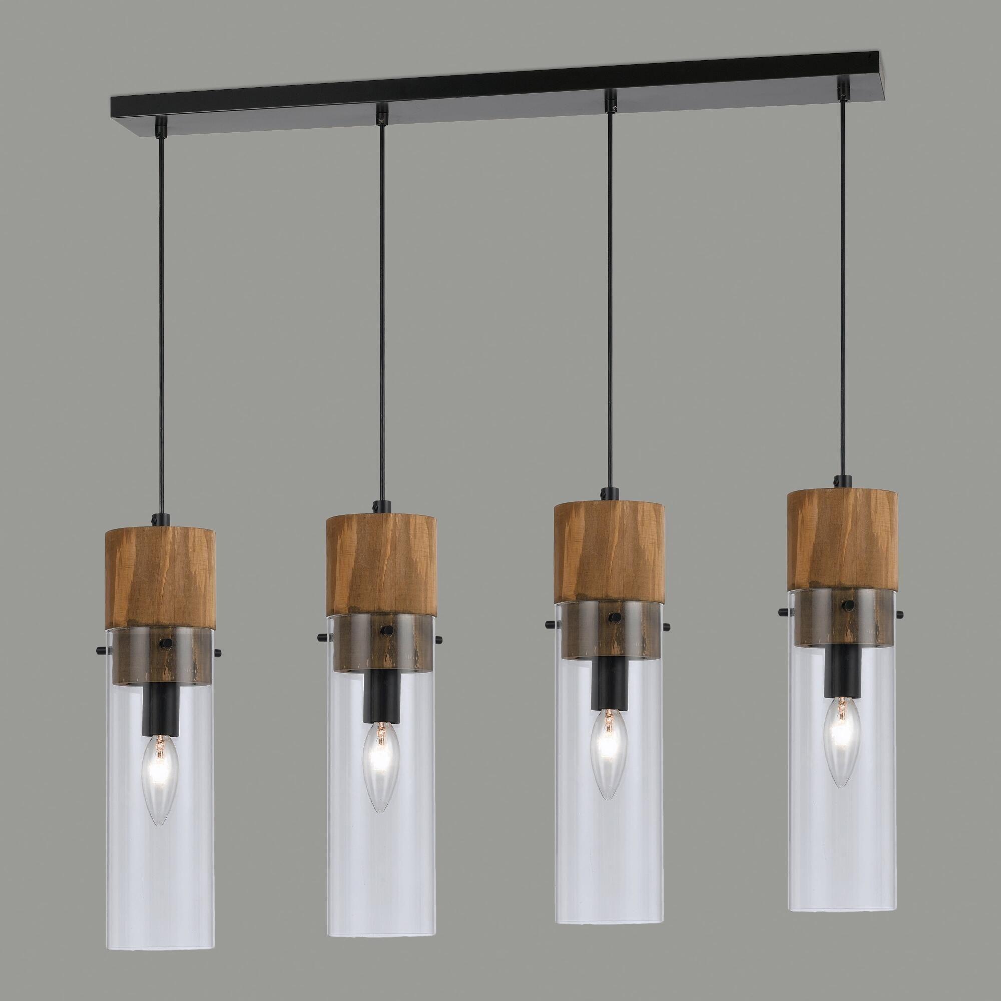 Wood And Glass 4 Light Pendant Lamp Wood Light Fixture Pendant
