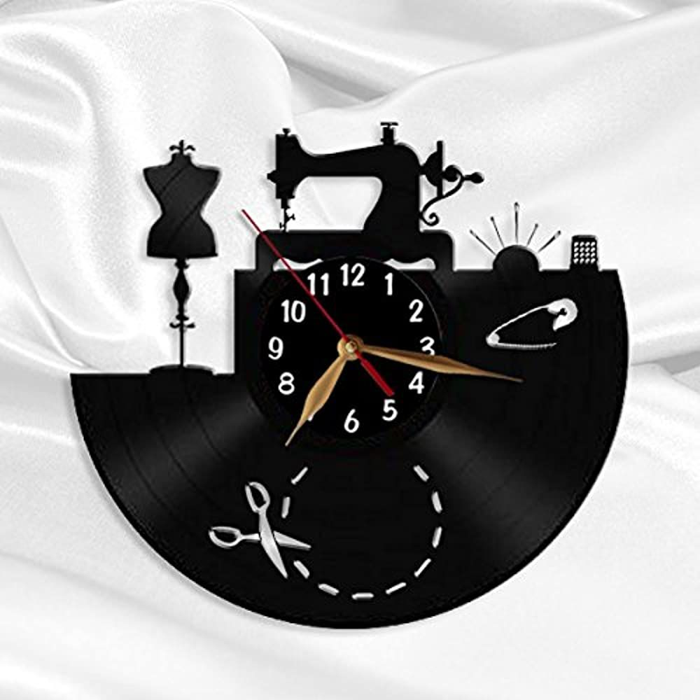 Amazon Com Sewing Salon Wall Clock Tailoring Vinyl Record Clock 12inch 30 Cm Tailor Gift Black Clockf In 2020 Sewing Machine Drawing Sewing Art Sewing Room Design
