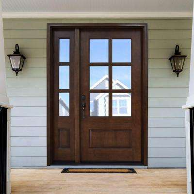 Steves Sons 52 In X 80 In Savannah Clear 6 Lite Rhis Mahogany Stained Wood Prehung Front Door With Single 12 In Sidelite M6410 1230 Ct 4irh The Home Depo In 2020 Brown