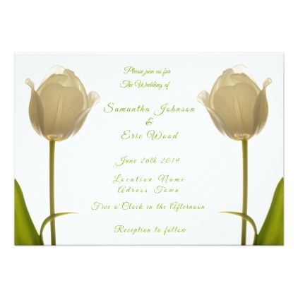 Personalized Wedding Invitation Two White Tulips Invitations Cards Custom Card Design Marriage Party