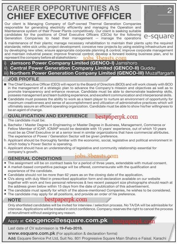 Chief Executive Officer Job Advertised 04-02-2018 Jobs Pinterest