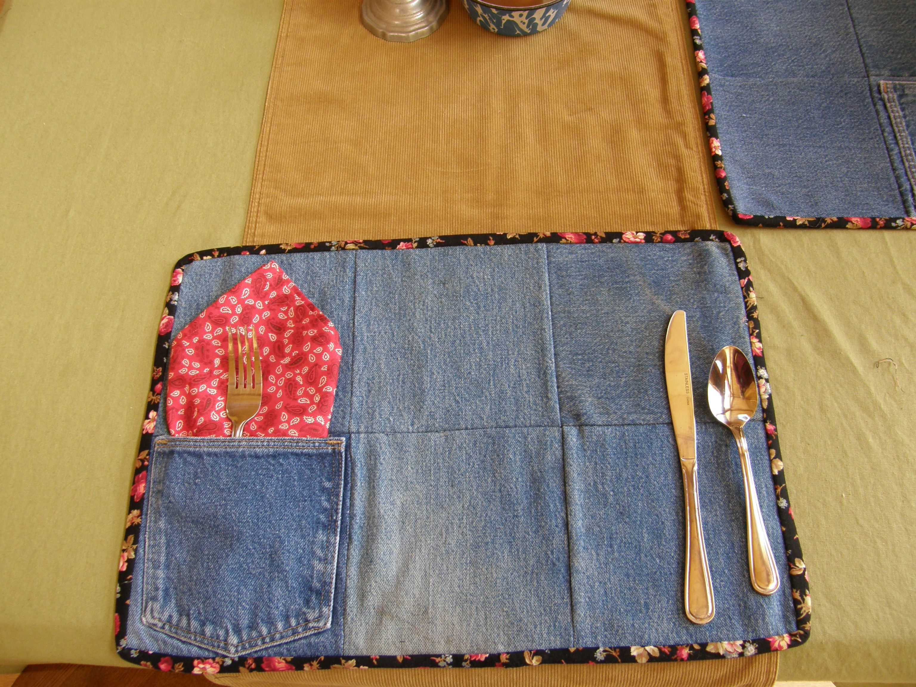 Jeans from a garage sale made into placemats