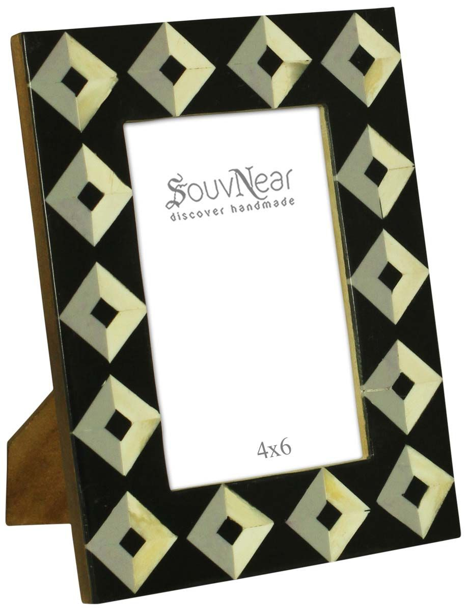 Bulk Buy 4x6 Inches Black & White Picture Frame in a Square Pattern ...