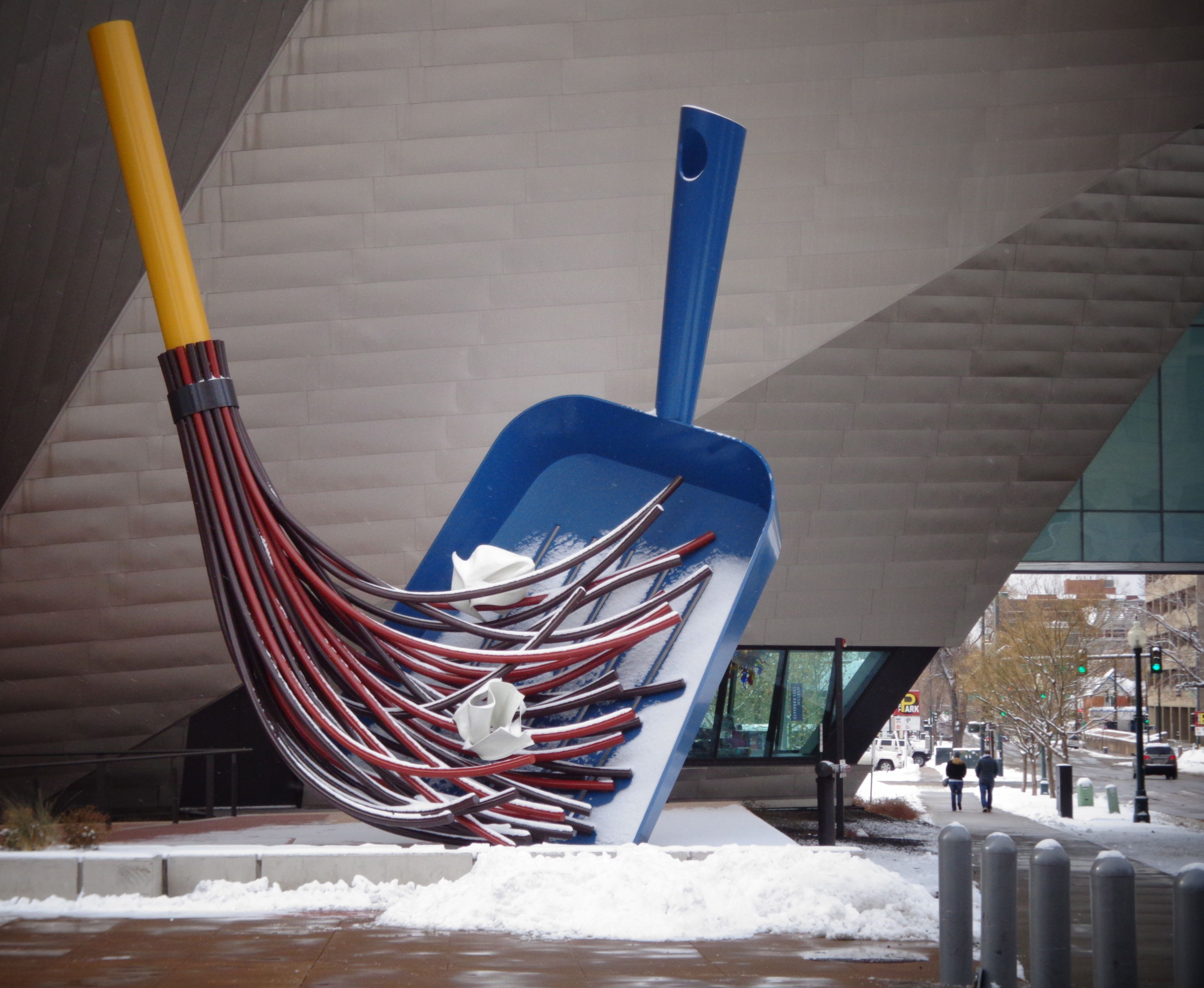 Sweeping up the snow, Denver Art Museum.