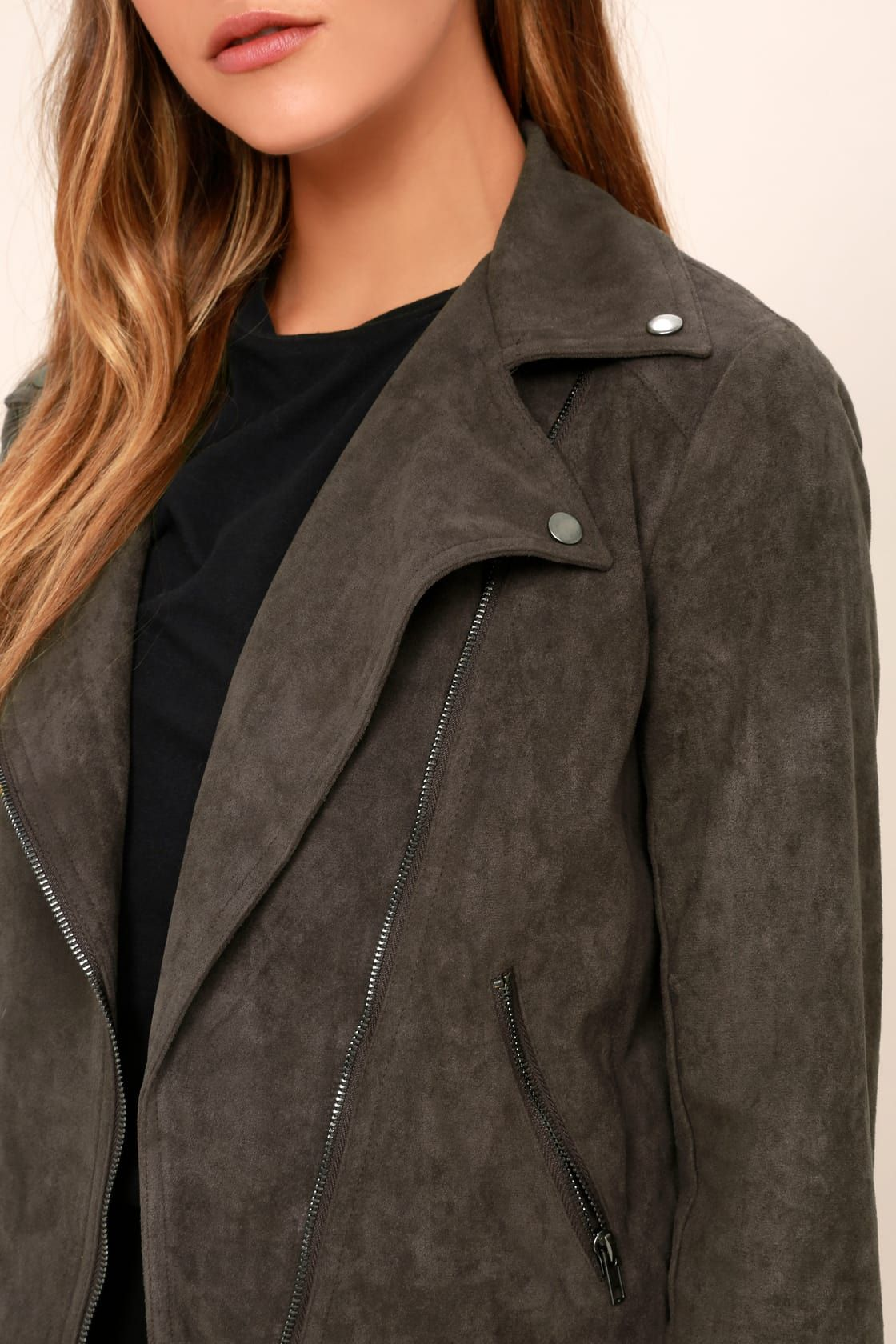 aba14bf78 Lulus | Catch You on the Flip Side Charcoal Grey Suede Moto Jacket ...