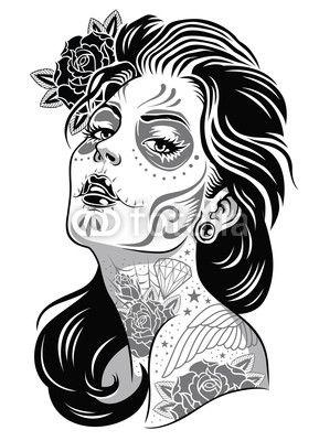 Black And White Day Of Dead Girl Vector Illustration Skull