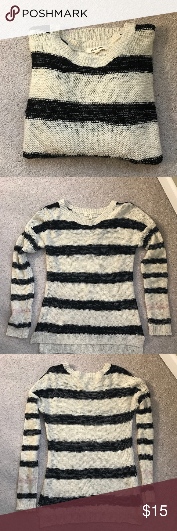Cream and Black Striped Sweater Open knit lightweight sweater. This sweater does have a shape to it unlike a lot of sweaters. So cute on but sadly it's too small. Would fit. Small or a smaller medium much better Pink Rose Sweaters Crew & Scoop Necks