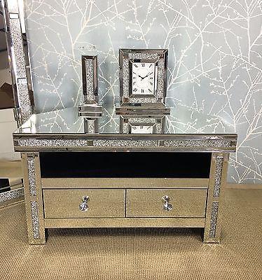Crystal Corner Tv Cabinet Stand, Mirrored Glass Corner Tv Stand