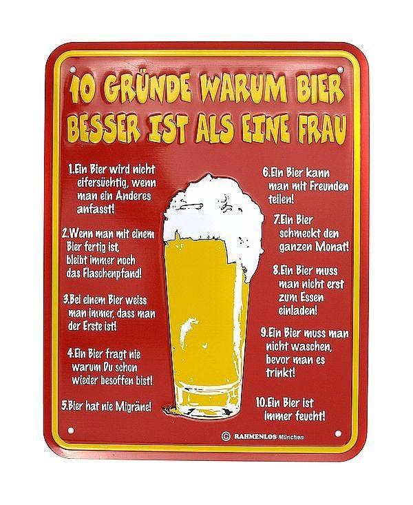 Funschild -10 Gründe warum Bier besser ist als eine Frau ...