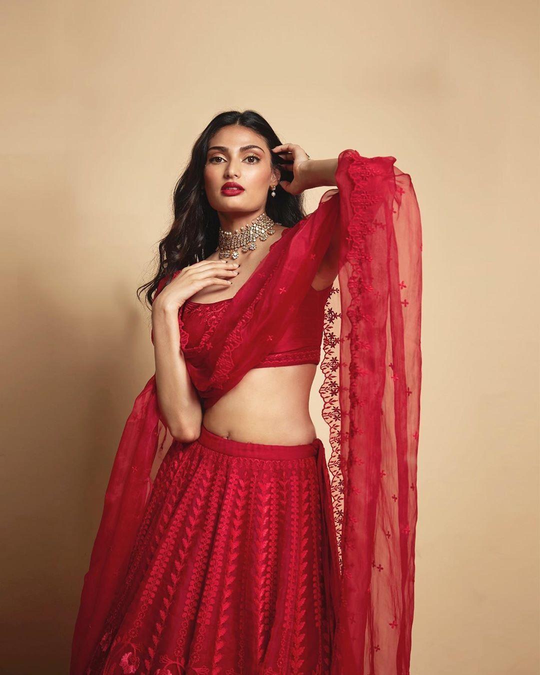 Athiya shetty in red Lehenga, Indian bridal dress, Fashion